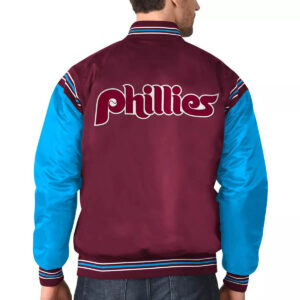 Philadelphia Phillies Burgundy&Light Blue Varsity Satin Jacket