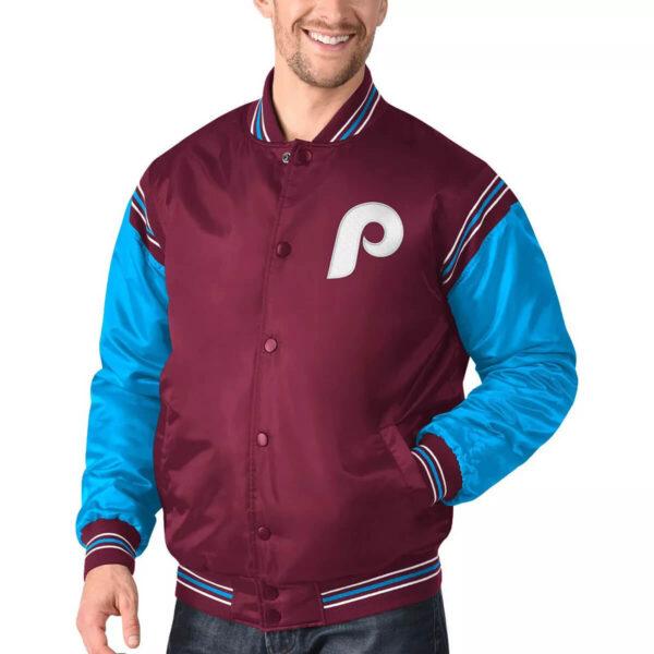 Philadelphia Phillies Burgundy&Light Blue Varsity Satin Jacket