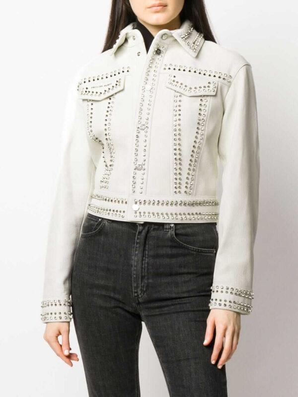 Philipp Plein Skull Studded Leather Jacket