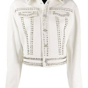 Philipp Plein Skull Studded Leather Jacket