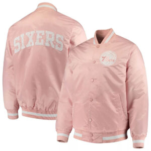 Pink Philadelphia 76ers Satin Jacket
