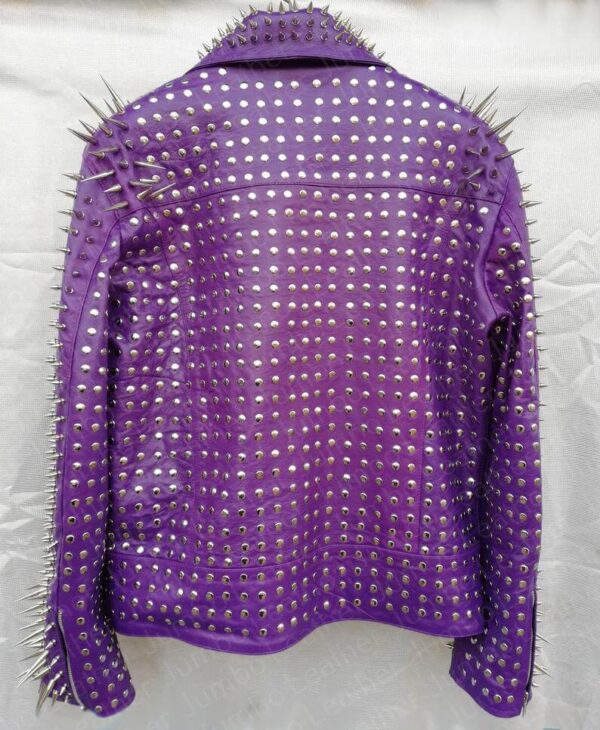 Purple Silver Long Spiked Studded Leather Jacket