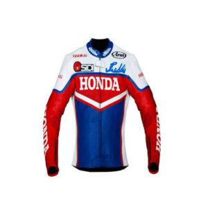 Red Blue White Honda Motorcycle Leather Jacket