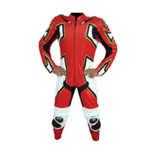 Red Motorcycle Racing Leather Suit