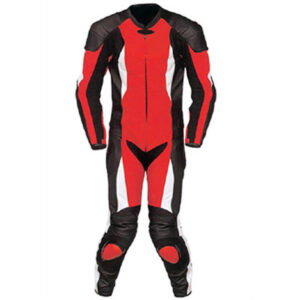 Red and Black Motorcycle Sports Racing Leather Suit