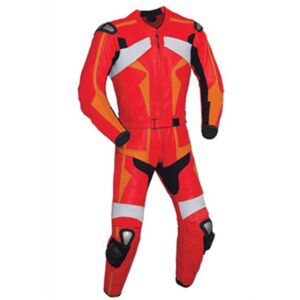 Red and Orange Motorcycle Racing Leather Suit