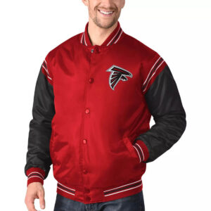 Red&Black Atlanta Falcons Satin Varsity Jacket