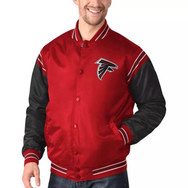 Red&Black Atlanta Falcons Satin Varsity Jacket
