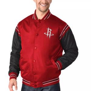 Red&Black Houston Rockets Varsity Satin Jacket