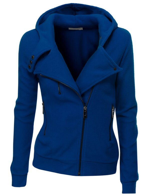 Royal Blue Women's Zipper Long Sleeved Wool Jacket