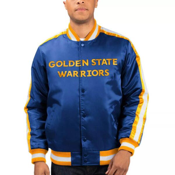 Royal Golden State Warriors The Offensive Varsity Satin Jacket