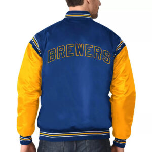 Royal&Yellow Milwaukee Brewers Varsity Satin Jacket