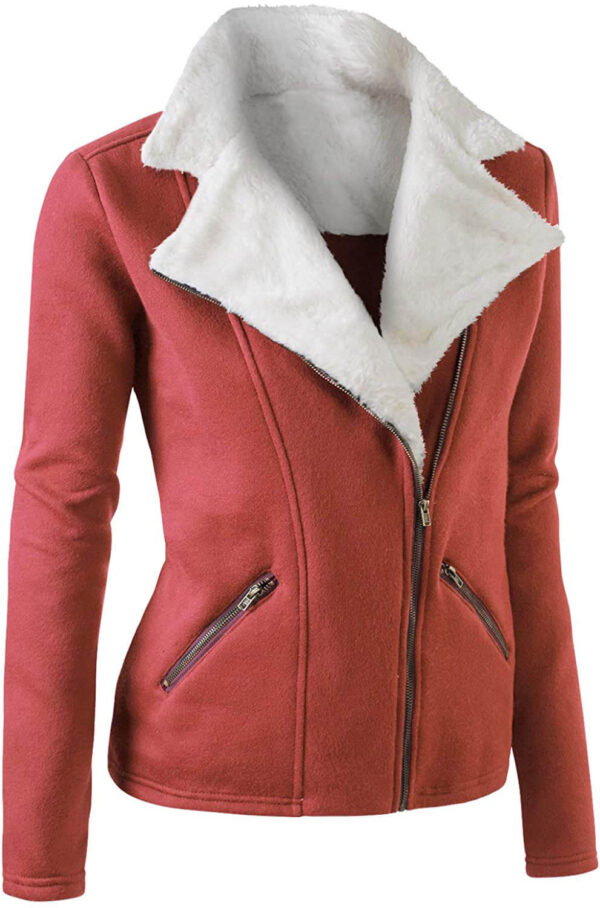 Rust Wool White Fur Women's Zip Up Jacket