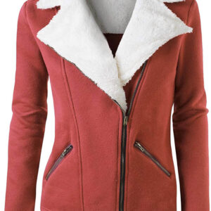 Rust Wool White Fur Women's Zip Up Jacket
