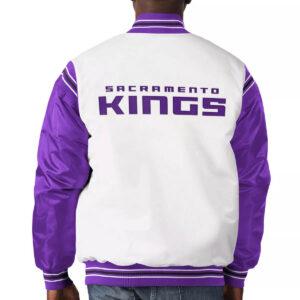 Sacramento Kings White and Purple Varsity Satin Jacket
