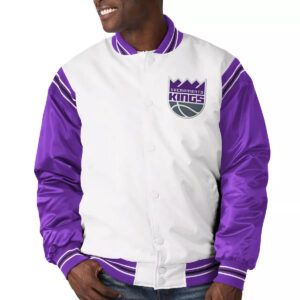 Sacramento Kings White and Purple Varsity Satin Jacket