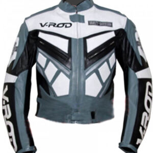 Silver V.rod Motorcycle Racing Leather Jacket