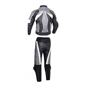 Silver and Black Motorcycle Racing Leather Suit