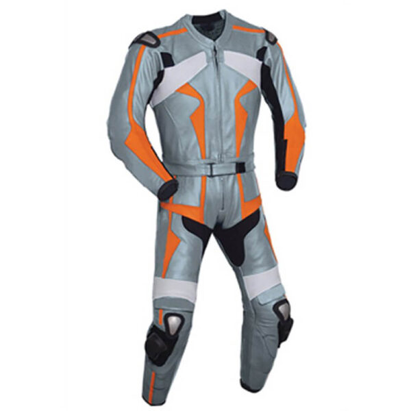 Silver and Orange Motorcycle Racing Leather Suit