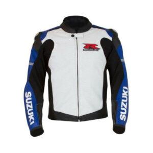 Suzuki Blue and White GSX-R Motorcycle Leather Jacket
