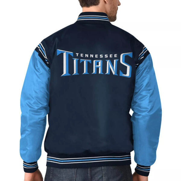 Tennessee Titans Navy & Light Blue Satin Varsity Jacket