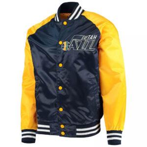 Utah Jazz Point Guard Navy and Gold Satin Jacket