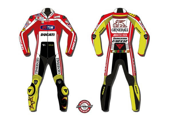 Valentino Rossi Ducati Corse MotoGP Motorcycle Leather Suit