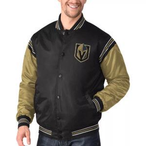 Vegas Golden Knights Satin Black and Gold Varsity Jacket