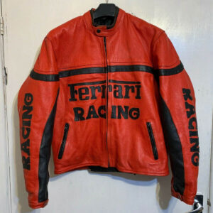 Vintage 80's Ferrari Red And Black Biker Leather Jacket