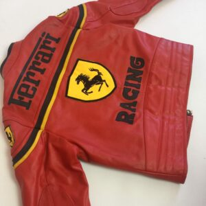Vintage Ferrari Red And Black Biker Leather Jacket