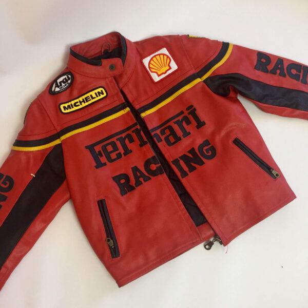 Vintage Ferrari Red And Black Biker Leather Jacket