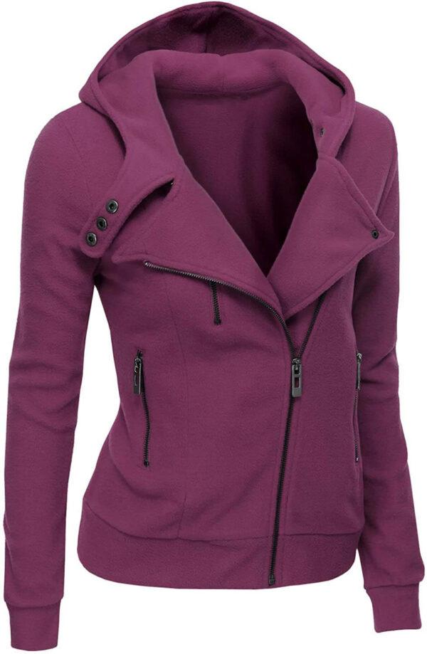 Violet Women's Zipper Long Sleeved Wool Jacket