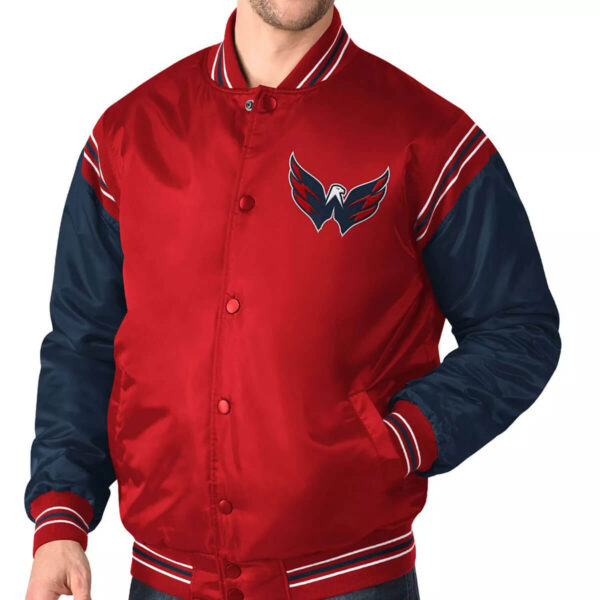 Washington Capitals Red&Navy Satin Varsity Jacket