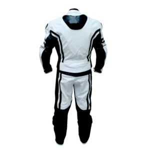 White & Black Plimmerton Motorcycle Leather Racing Suit