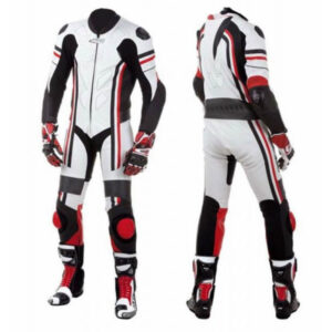 White Black Red Motorcycle Racing Leather Suit
