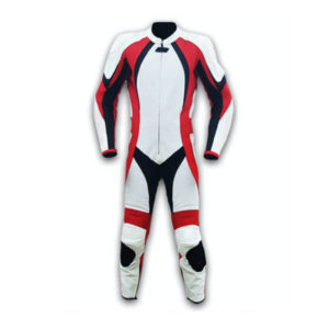 White Motorcycle Leather Racing Suit