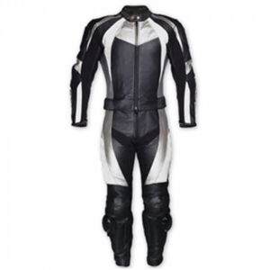 White and Black Motorcycle Racing Leather Suit