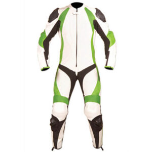 White and Light Green Motorcycle Racing Leather Suit