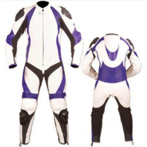 White and Purple Motorcycle Racing Leather Suit