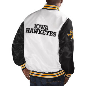White&Black Iowa Hawkeyes Cotton Jacket