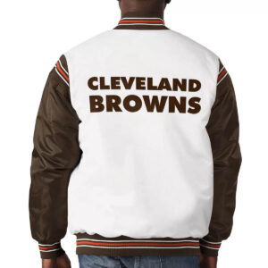 White&Brown Cleveland Browns Satin Varsity Jacket