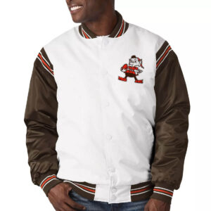 White&Brown Cleveland Browns Satin Varsity Jacket