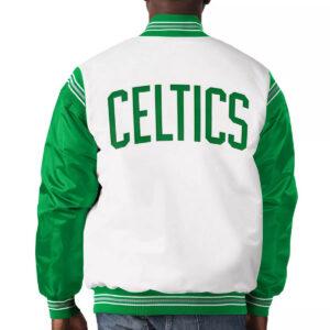 White&Kelly Green Boston Celtics Varsity Satin Jacket
