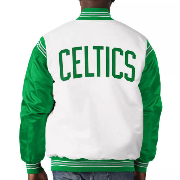 White&Kelly Green Boston Celtics Varsity Satin Jacket