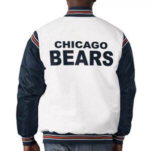 White&Navy Chicago Bears Satin Varsity Jacket