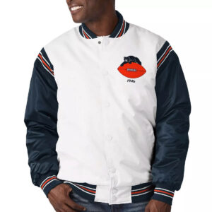 White&Navy Chicago Bears Satin Varsity Jacket