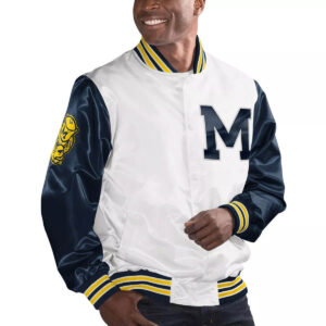 White&Navy Michigan Wolverines Cotton Jacket