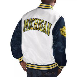 White&Navy Michigan Wolverines Cotton Jacket
