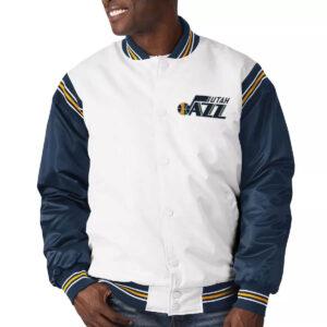 White&Navy Utah Jazz Renegade Varsity Satin Jacket