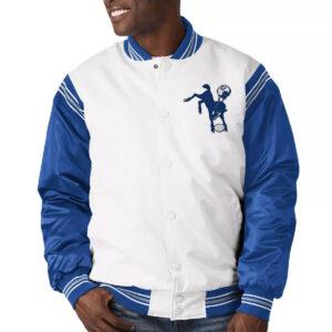 White&Royal Indianapolis Colts Satin Varsity Jacket